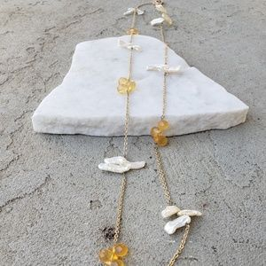 """♡ 16"""" delicate pearl and orange necklace"""